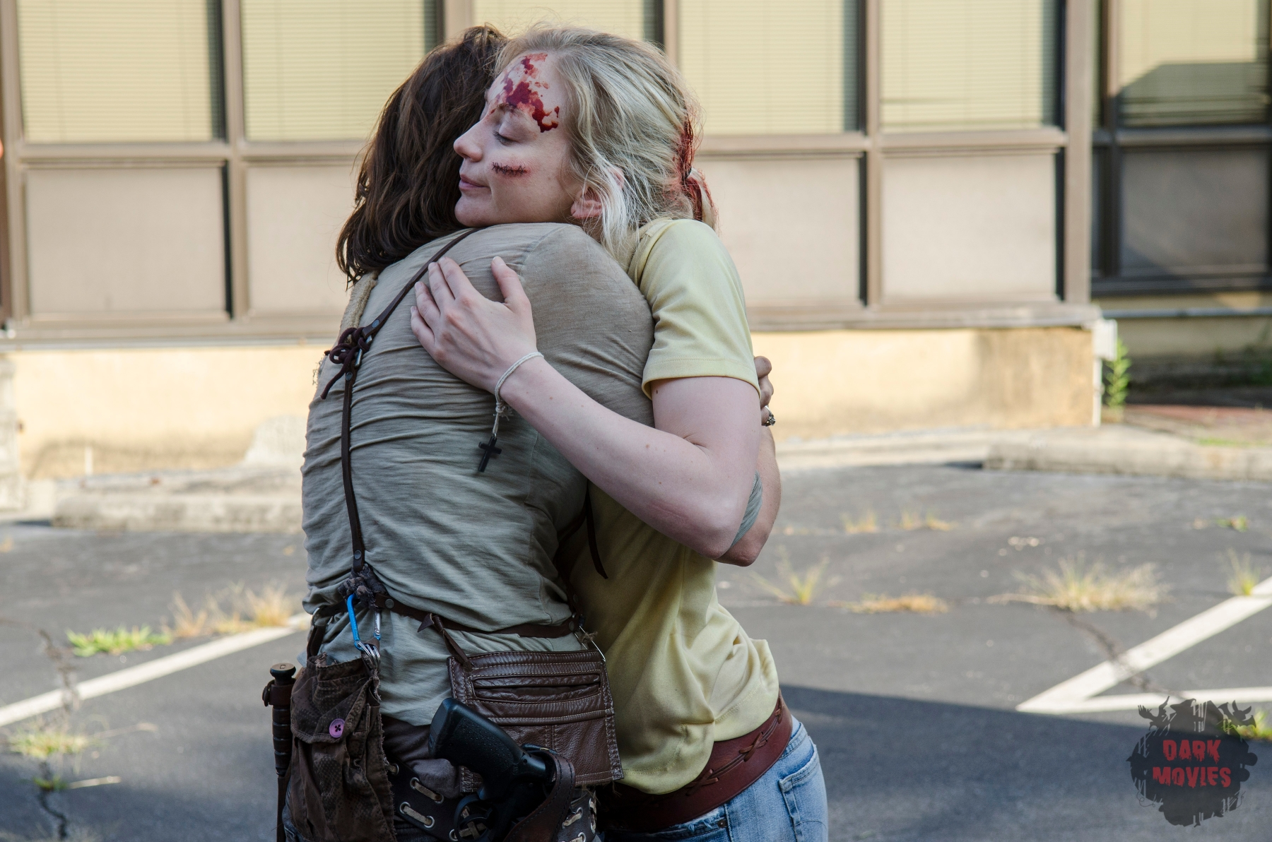 Lauren Cohan and Emily Kinney - The Walking Dead _ Season 5, Episode 8 _ BTS - Photo Credit: Gene Page/AMC