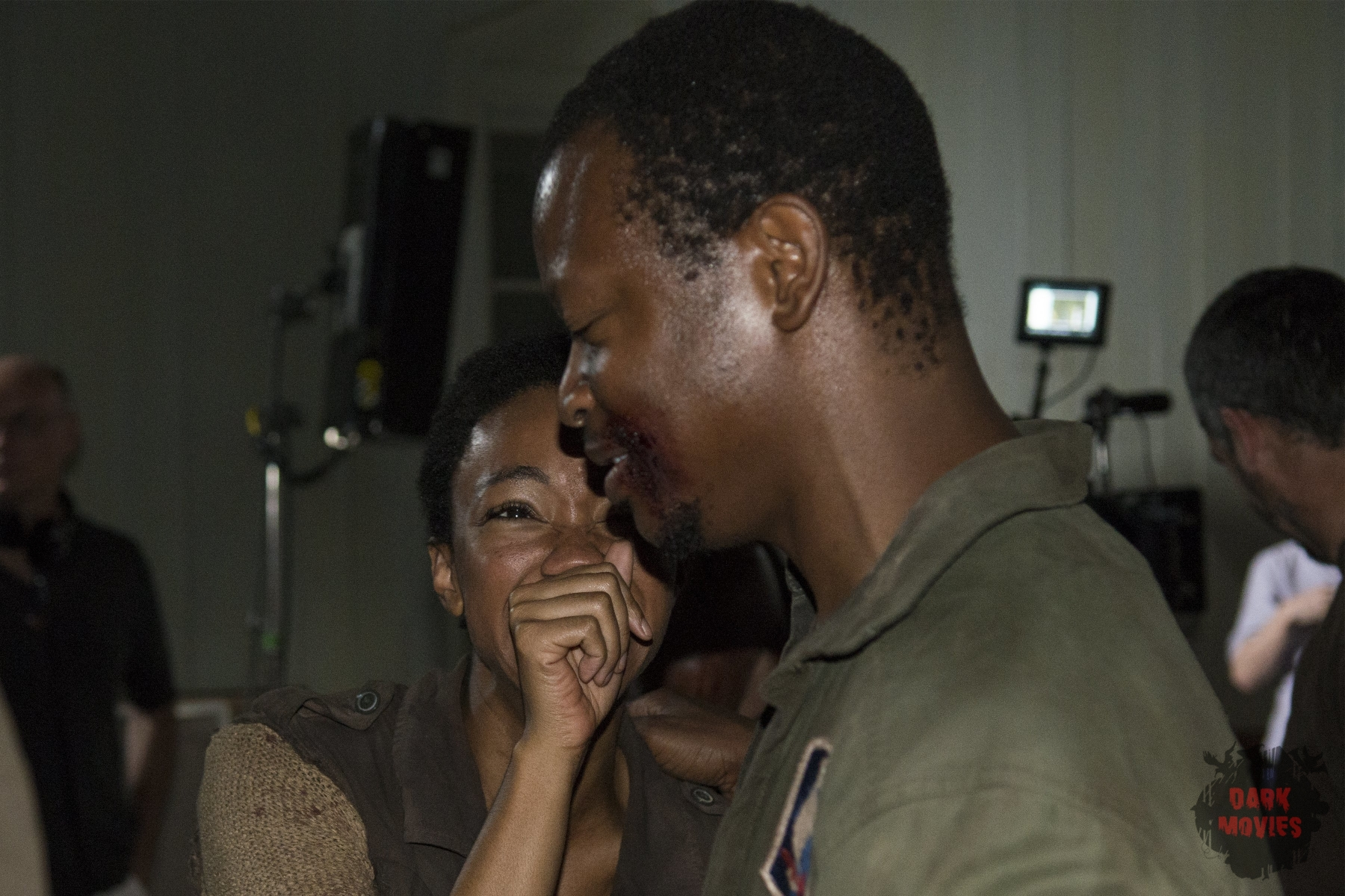 Sonequa Martin-Green and Lawrence Gilliard Jr. - The Walking Dead _ Season 5, Episode 3 _ BTS - Photo Credit: Gene Page/AMC