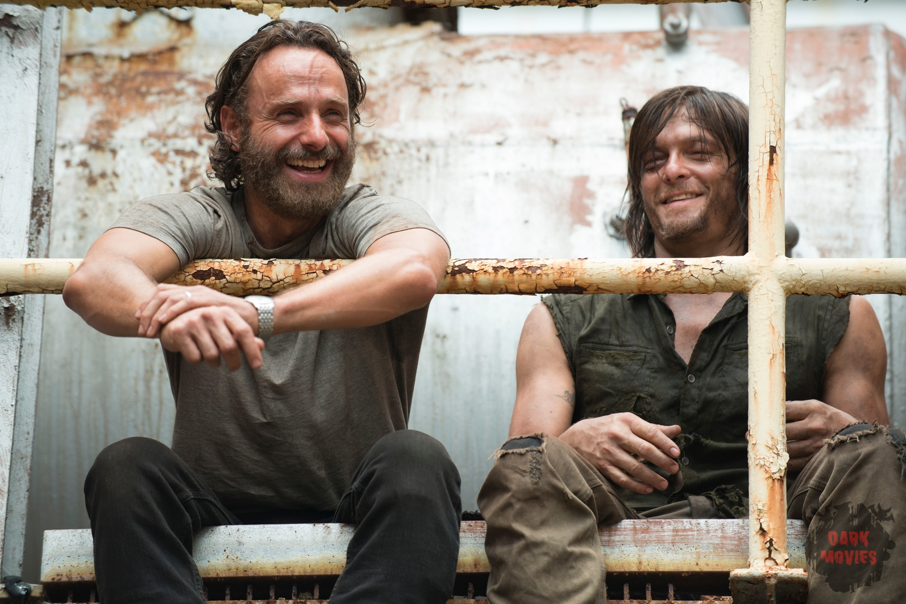Andrew Lincoln and Norman Reedus - The Walking Dead _ Season 5, Episode 7 _ BTS - Photo Credit: Gene Page/AMC