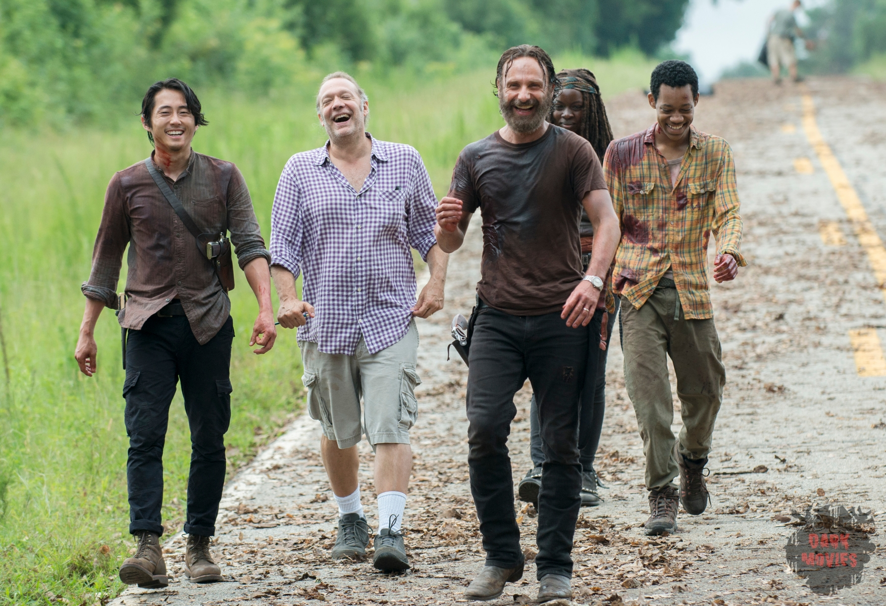 Steven Yeun, Greg Nicotero, Andrew Lincoln, Danai Gurira and Tyler James Williams - The Walking Dead _ Season 5, Episode 9 _ BTS - Photo Credit: Gene Page/AMC