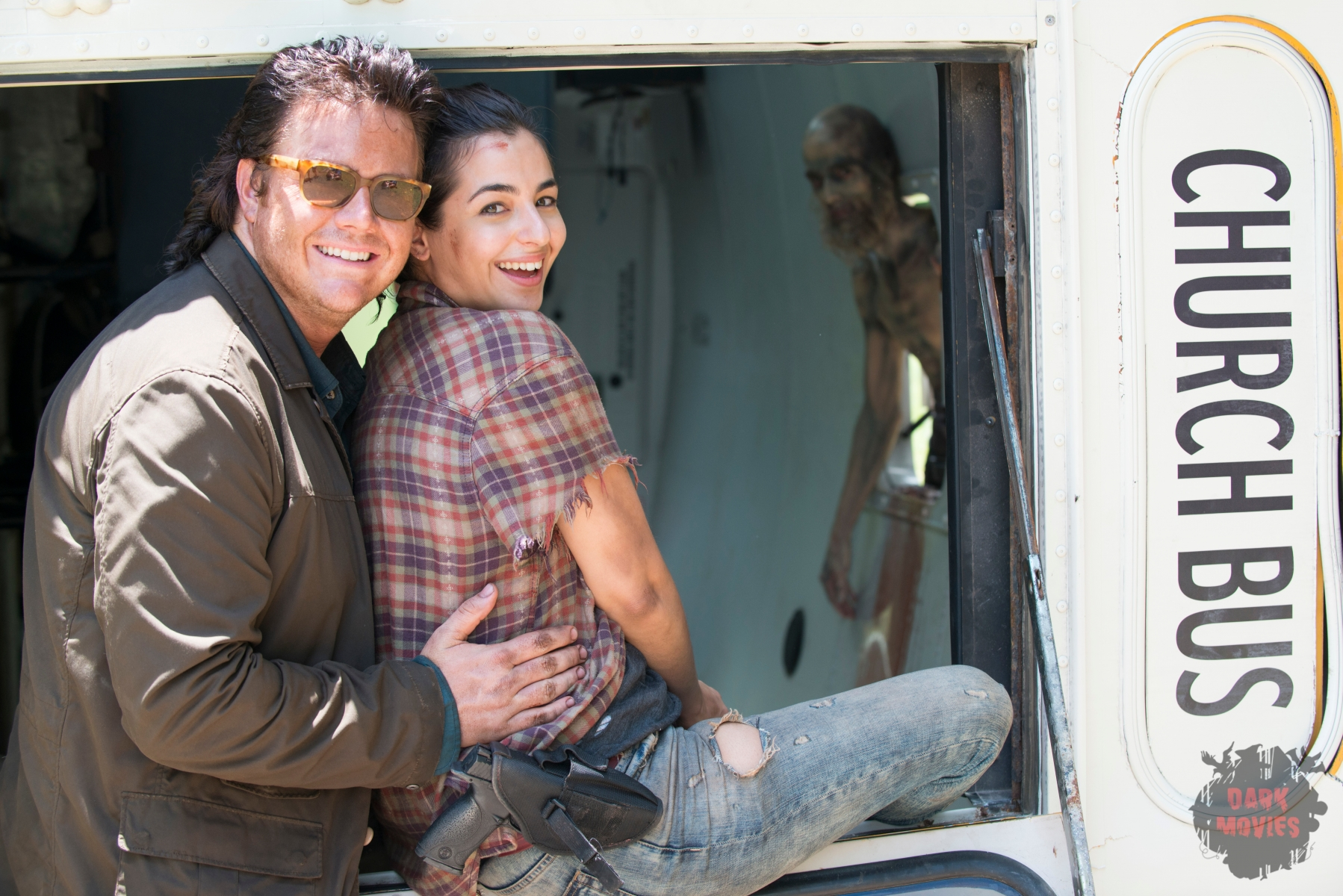 Josh McDermitt as Dr. Eugene Porter and Alanna Masterson as Tara Chambler - The Walking Dead _ Season 5, Episode 5 _ BTS - Photo Credit: Gene Page/AMC