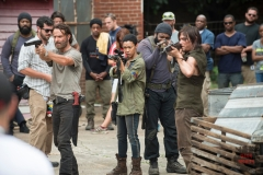 Andrew Lincoln as Rick Grimes, Sonequa Martin-Green as Sasha, Chad Coleman as Tyreese and Norman Reedus as Daryl Dixon - The Walking Dead _ Season 5, Episode 7 _ BTS - Photo Credit: Gene Page/AMC