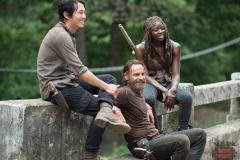 Steven Yeun, Andrew Lincoln and Danai Gurira - The Walking Dead _ Season 5, Episode 10 _ BTS - Photo Credit: Gene Page/AMC