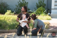 Andrew Lincoln and Chandler Riggs - The Walking Dead _ Season 5, Episode 12 _ BTS - Photo Credit: Gene Page/AMC