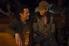 Josh McDermitt and Christian Serratos - The Walking Dead _ Season 5, Episode 3 _ BTS - Photo Credit: Gene Page/AMC