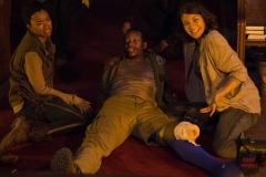 Sonequa Martin-Green, Lawrence Gilliard Jr. and Lauren Cohan - The Walking Dead _ Season 5, Episode 3 _ BTS - Photo Credit: Gene Page/AMC