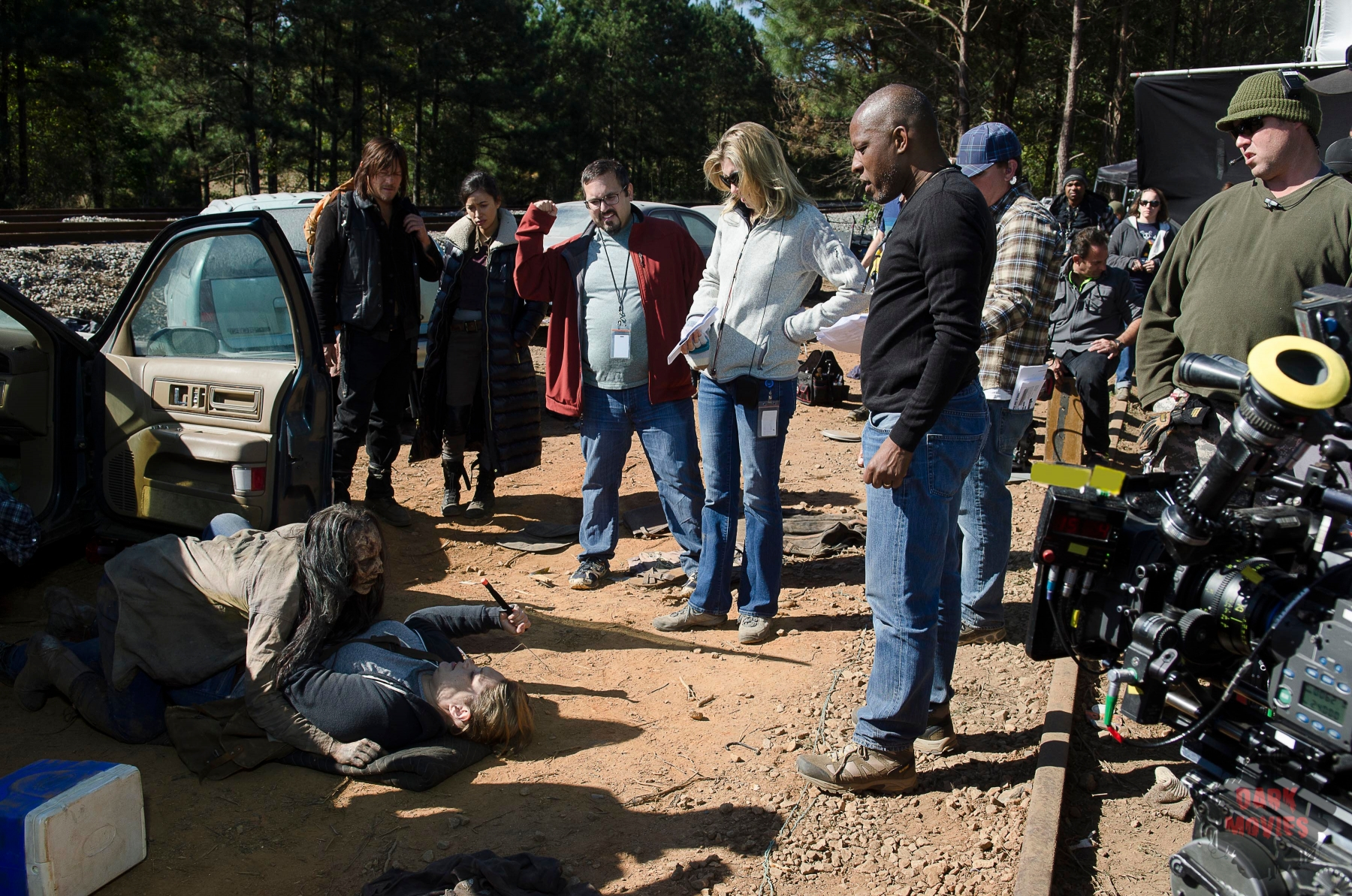 Merritt Wever as Dr. Denise Cloyd, Norman Reedus as Daryl Dixon, Christian Serratos as Rosita Espinosa, and Co-Executive Producer Denise Huth - The Walking Dead _ Season 6, Episode 14 - Photo Credit: Gene Page/AMC