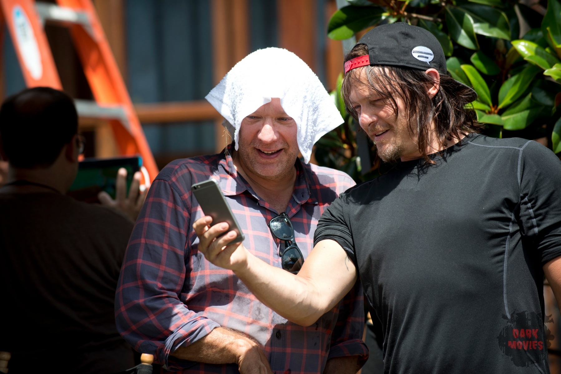 Greg Nicotero and Norman Reedus as Daryl Dixon - The Walking Dead _ Season 5, Episode 5 _ BTS - Photo Credit: Gene Page/AMC