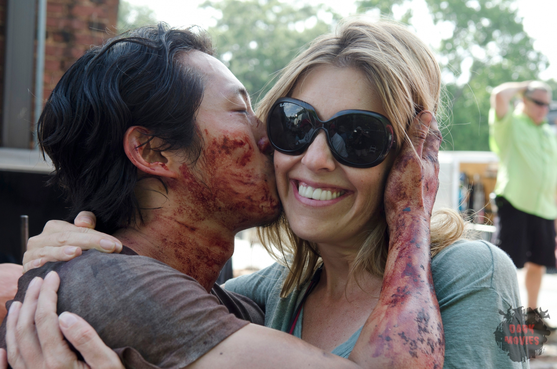 Steven Yeun as Glenn Rhee and Denise Huth - The Walking Dead _ Season 6, Episode 7 - Photo Credit: Gene Page/AMC