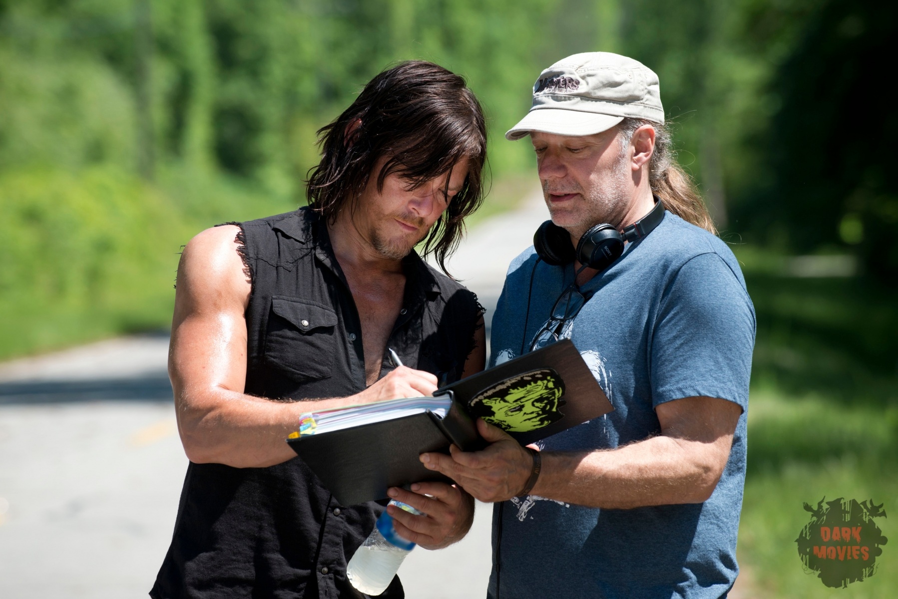 Norman Reedus as Daryl Dixon and Greg Nicotero - The Walking Dead _ Season 6, Episode 1 _ BTS - Photo Credit: Gene Page/AMC