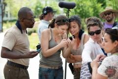Lennie James as Morgan Jones, Lauren Cohan as Maggie Greene and Christian Serratos as Rosita Espinosa - The Walking Dead _ Season 5, Episode 5 _ BTS - Photo Credit: Gene Page/AMC