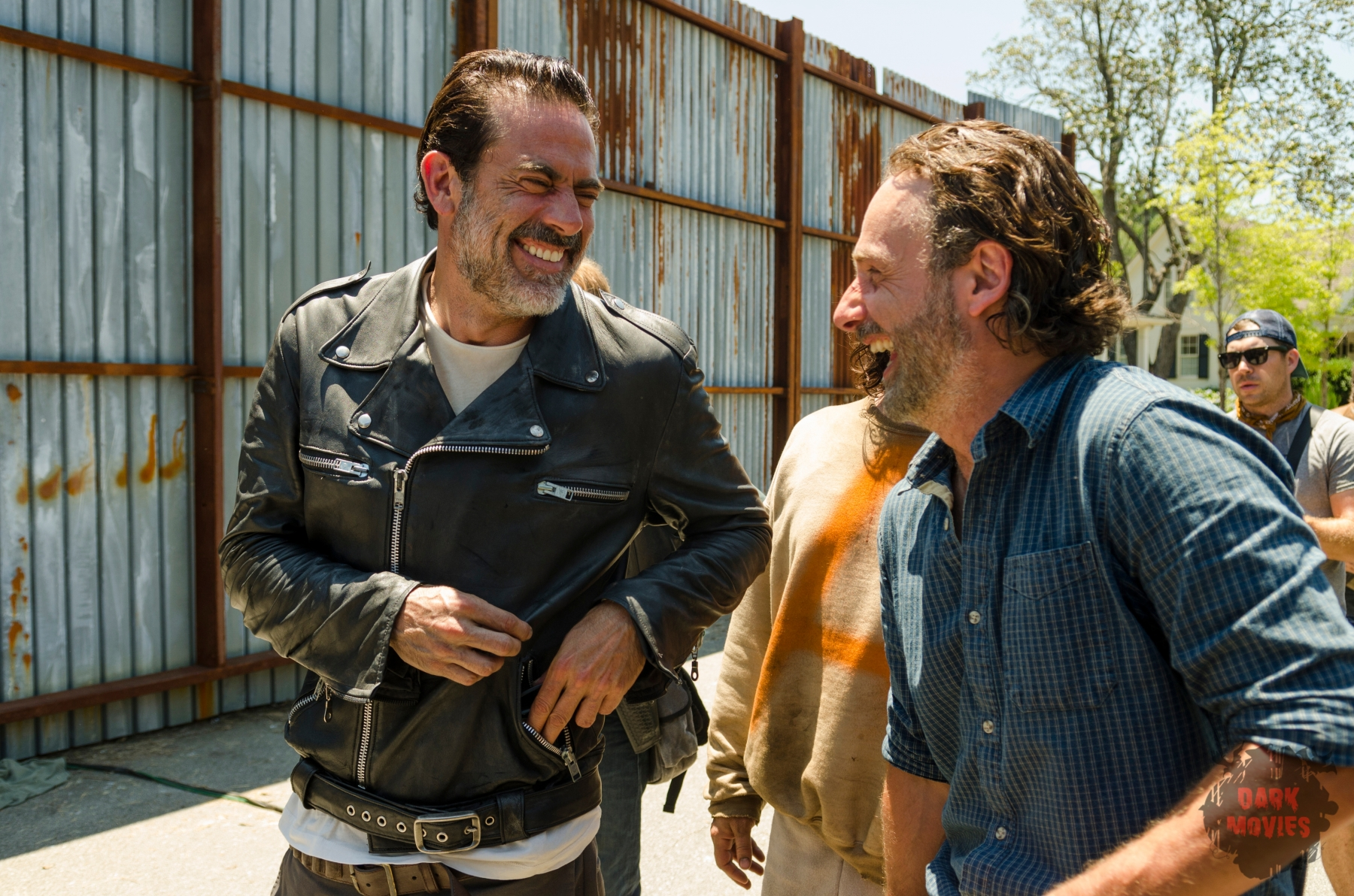 Andrew Lincoln as Rick Grimes, Jeffrey Dean Morgan as Negan, Norman Reedus as Daryl Dixon; BTS - The Walking Dead _ Season 7, Episode 4 - Photo Credit: Gene Page/AMC