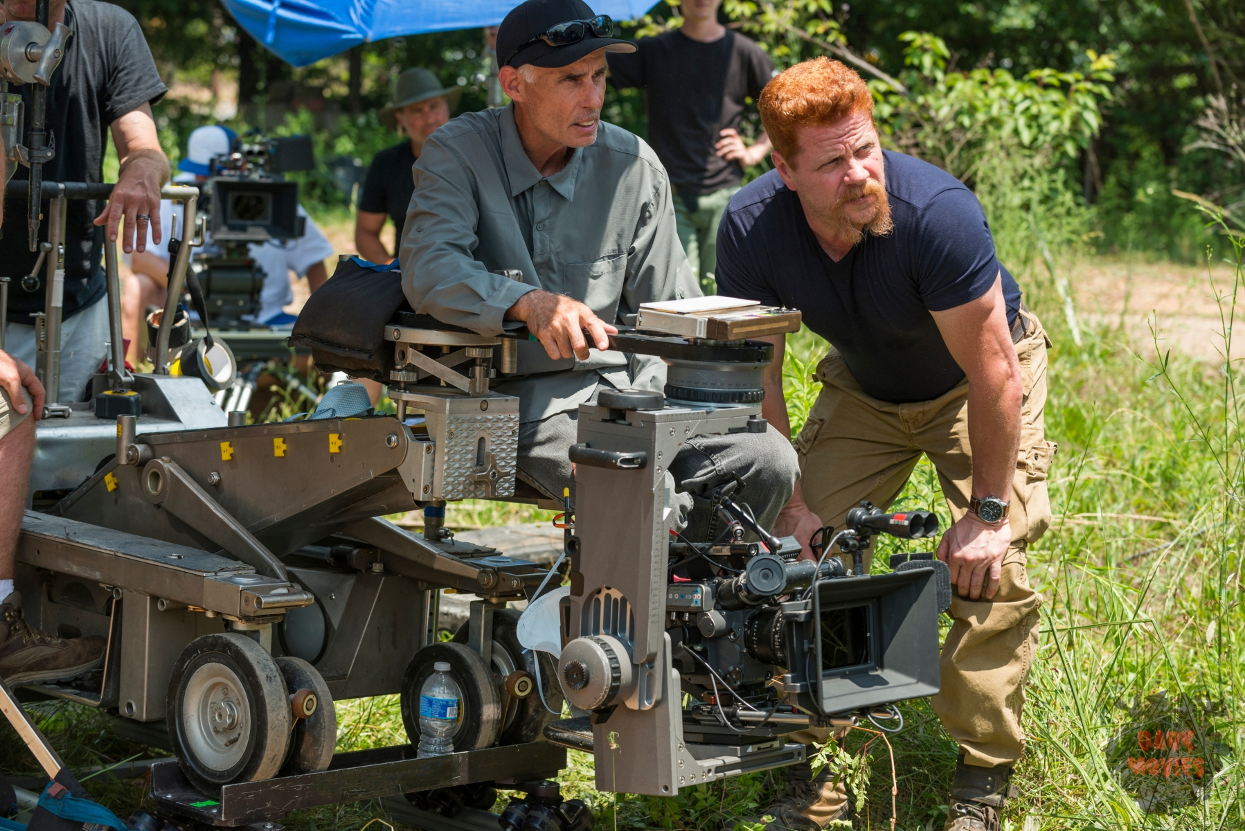 BTS, Michael Cudlitz as Sgt. Abraham Ford, Director of Photography Stephen Campbell - The Walking Dead _ Season 7, Episode 2 - Photo Credit: Gene Page/AMC