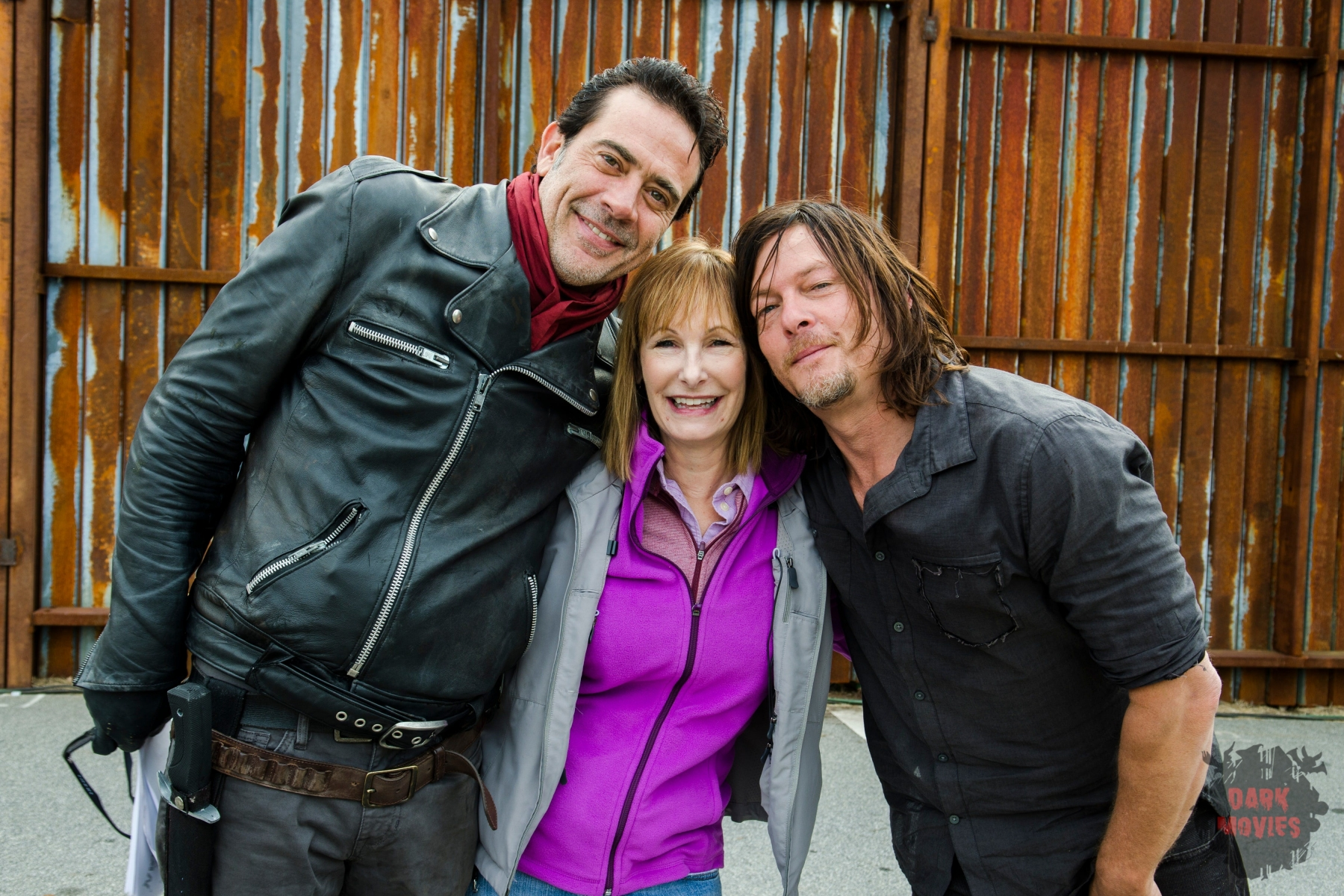 Jeffrey Dean Morgan as Negan, Norman Reedus as Daryl Dixon, Executive Producer Gale Anne Hurd - The Walking Dead _ Season 7, Episode 16 - Photo Credit: Gene Page/AMC