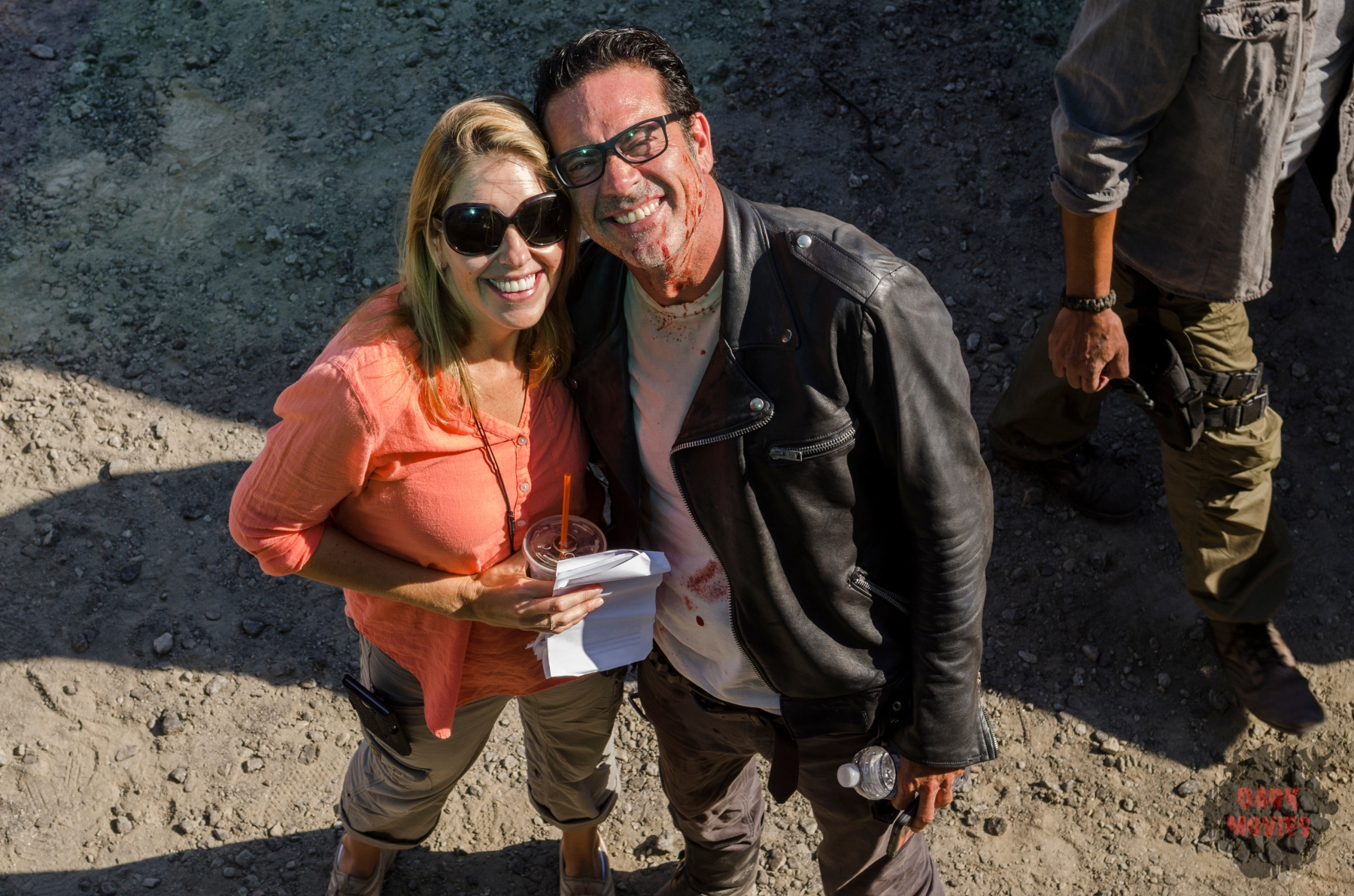 BTS, Co-Executive Producer Denise M. Huth, Jeffrey Dean Morgan as Negan - The Walking Dead _ Season 7, Episode 11 - Photo Credit: Gene Page/AMC