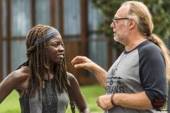 BTS, Danai Gurira as Michonne, Executive Producer Greg Nicotero- The Walking Dead _ Season 7, Episode 9 - Photo Credit: Gene Page/AMC