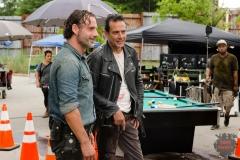 BTS, Jeffrey Dean Morgan as Negan, Andrew Lincoln as Rick Grimes- The Walking Dead _ Season 7, Episode 8 - Photo Credit: Gene Page/AMC