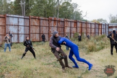 BTS, Stuntman Scott Hunter- The Walking Dead _ Season 7, Episode 16 - Photo Credit: Gene Page/AMC