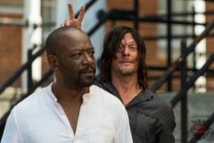 BTS, Lennie James as Morgan Jones, Norman Reedus as Daryl Dixon- The Walking Dead _ Season 7, Episode 10 - Photo Credit: Gene Page/AMC