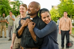 BTS, Seth Gilliam as Father Gabriel Stokes, Alanna Masterson as Tara Chambler- The Walking Dead _ Season 7, Episode 8 - Photo Credit: Gene Page/AMC