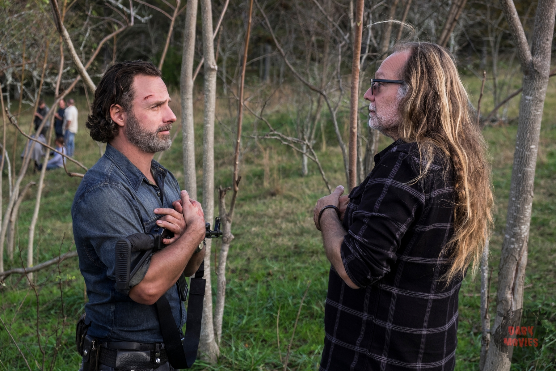 BTS, Andrew Lincoln as Rick Grimes, Executive Producer Greg Nicotero - The Walking Dead _ Season 8, Episode 16 - Photo Credit: Gene Page/AMC