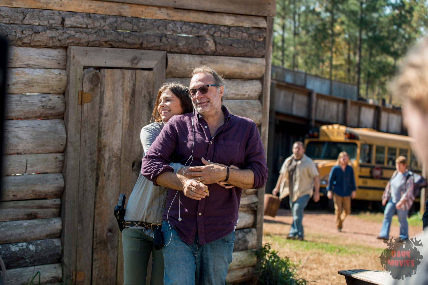 BTS, Lauren Cohan as Maggie Rhee, Executive Producer Greg Nicotero - The Walking Dead _ Season 8, Episode 16 - Photo Credit: Gene Page/AMC