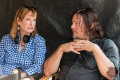 BTS, Executive Producer Gale Anne Hurd, Norman Reedus as Daryl Dixon - The Walking Dead _ Season 8, Episode 7 - Photo Credit: Gene Page/AMC