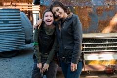 Katelyn Nacon as Enid, Lauren Cohan as Maggie Greene- The Walking Dead _ Season 8, Episode 1 - Photo Credit: Gene Page/AMC
