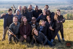 BTS, Andrew Lincoln as Rick Grimes, Tom Payne as Paul 'Jesus' Rovia, Lennie James as Morgan Jones, Norman Reedus as Daryl Dixon, Lauren Cohan as Maggie Rhee, Christian Serratos as Rosita Espinosa, Danai Gurira as Michonne, Melissa McBride as Carol Peletier, Avi Nash as Siddiq, Cooper Andrews as Jerry, Khary Payton as Ezekiel - The Walking Dead _ Season 8, Episode 16 - Photo Credit: Gene Page/AMC